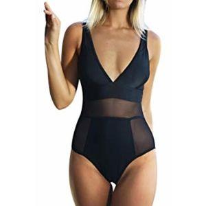 NEWCupshe black flirty one piece swim mesh details